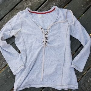 Lace Up Long Sleeve Top Size Large